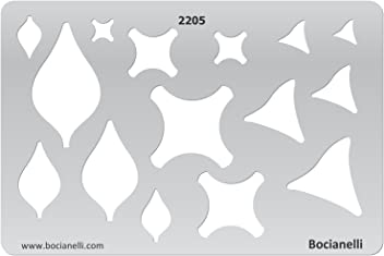 Bocianelli Plastic Stencil Template for Graphical Design Drawing Drafting Jewellery Making - Leaf Pendant