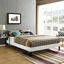 LexMod Sharon King Vinyl Bed Frame with Squared Tapered Legs in White