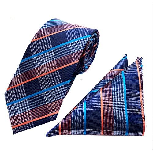 Monique Men Fashion Necktie & Pocket Square Set Classic Jacquard Weave Tie Handkerchief