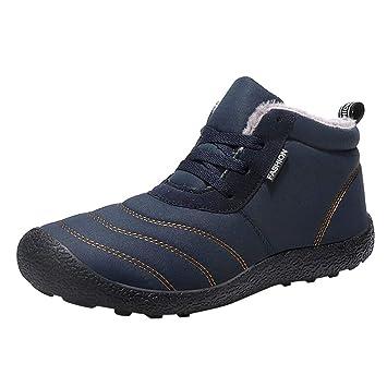 LuckyGirls Botas de Nieve Forrada De Piel Zapatos con Cordones Terciopelo Botines Calzado Deportivo Zapatillas De