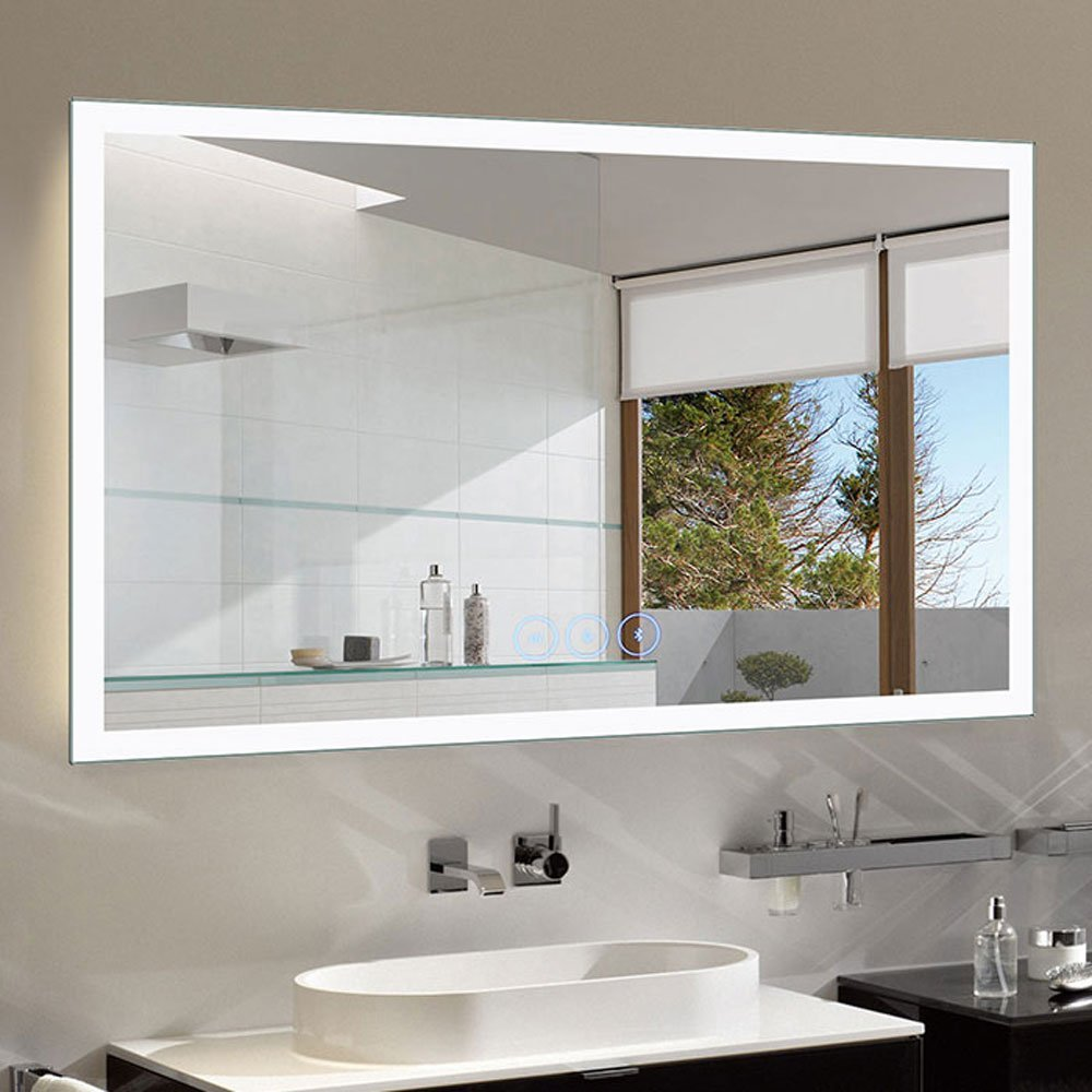 timeless design 4e544 cceba Decoraport 55 x 36 in Horizontal Dimmable LED Bathroom Mirror with Anti-Fog  and Bluetooth Function (DK-A-N031-T)