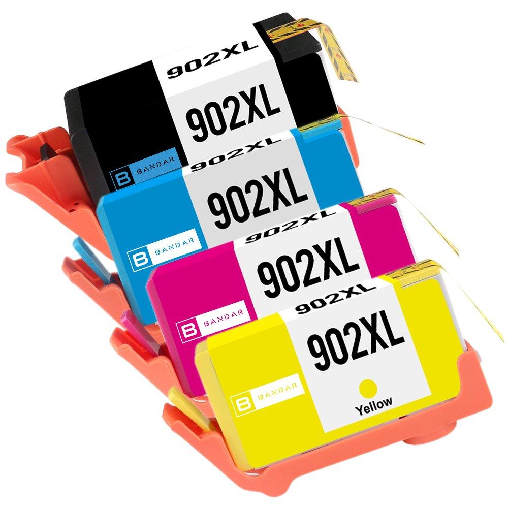 Bandar 4 Pack 902XL Ink Cartridge Remanufactured 902Black T6M14AN Cyan T6M02AN Magenta T6M06AN Yellow T6M10AN Inkjet for OfficeJet 6950 6951 6954 6958 6962 OfficeJet Pro 6960 6968 6970(BCMY)