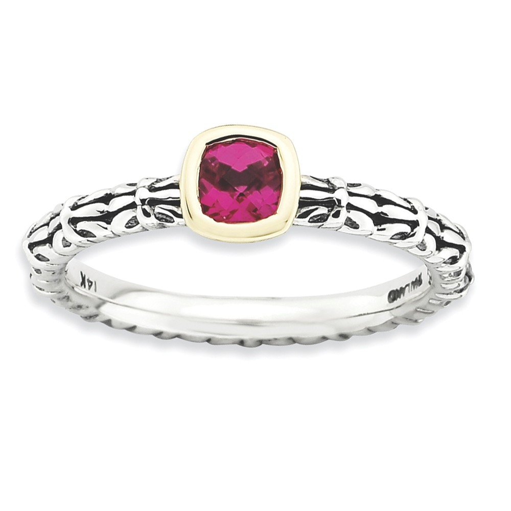 Top 10 Jewelry Gift Sterling Silver & 14k Stackable Expressions Checker-cut Cr. Ruby Ring