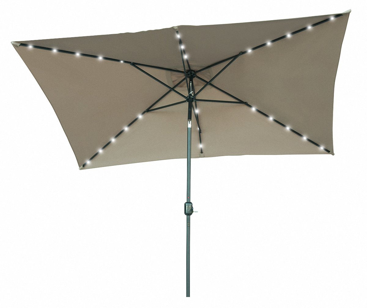 Amazon.com : Rectangular Solar Powered LED Lighted Patio Umbrella   10u0027 X  6.5u0027   By Trademark Innovations (Tan) : Garden U0026 Outdoor