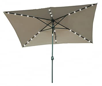 Exceptional Rectangular Solar Powered LED Lighted Patio Umbrella   10u0027 X 6.5u0027   By  Trademark