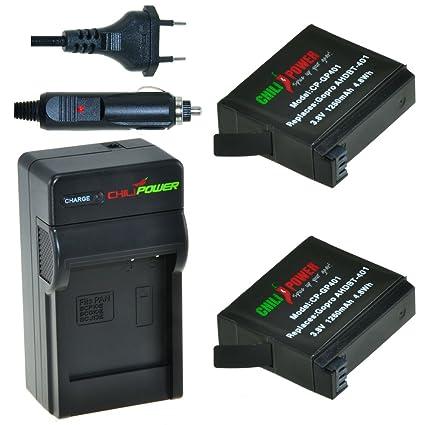 ChiliPower GoPro AHDBT-401 Kit: 2x Batería (1260mAh) + Cargador para GoPro Hero 4, AHBBP-401
