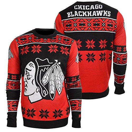 foco chicago blackhawks big logo ugly crew neck sweater small - Blackhawks Christmas
