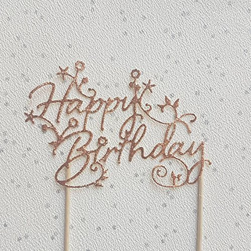Rose Gold Happy Birthday Cake Topper Amazoncouk Handmade