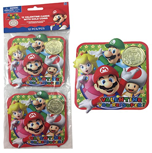 Super Mario Bros Valentine Cards With Gold Coins  For 24 Kids