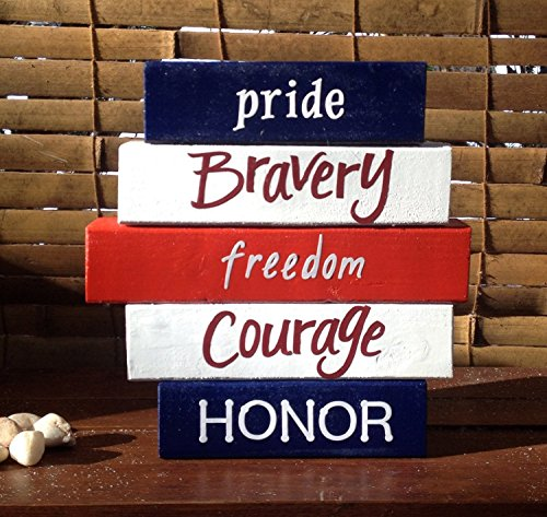 PATRIOTIC WORD BLOCK SET! Wood word stacking block set for Army, Navy, Air Force, Marines