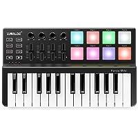 ammoon 25-Key Ultra-Portable USB MIDI Keyboard Controller 8 Colorful Backlit Trigger Pads