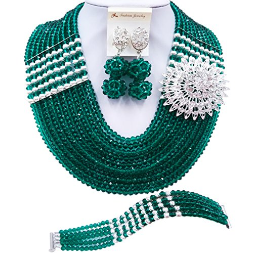 aczuv Nigerian Jewelry For Women African Wedding Necklace Set Crystal Beaded Bridal Jewelry Sets (Army Green Silver Color Findings)