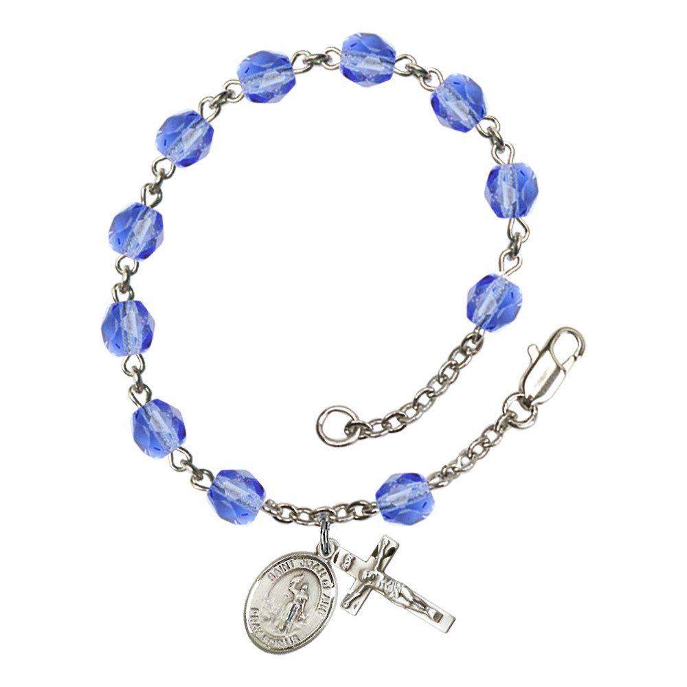 Bonyak Jewelry St. Joan of Arc Silver Plate Rosary Bracelet 6mm September Blue Fire Polished Beads Crucifix Size 5/8 x 1/4 Medal Charm