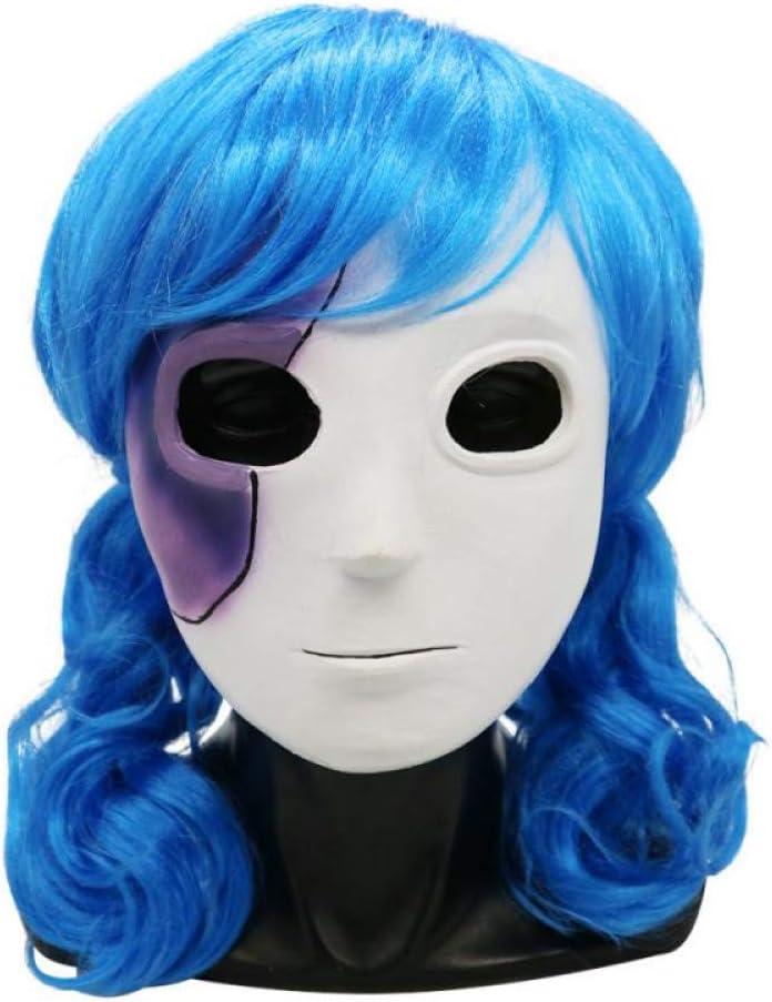 LFIWN Cara Cosplay Máscara Pelucas Accesorios Máscara de látex Peluca Corta Pinza de Pelo Azul Cola de Caballo Pelucas Disfraces de Halloween: Amazon.es: Hogar