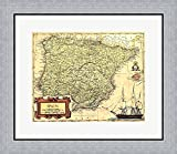 Spain Map by Vision studio Framed Art Print Wall Picture, Flat Silver Frame, 23 x 20 inches