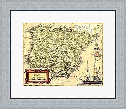 Spain Map by Vision studio Framed Art Print Wall Picture, Flat Silver Frame, 23 x 20 inches by Great Art Now