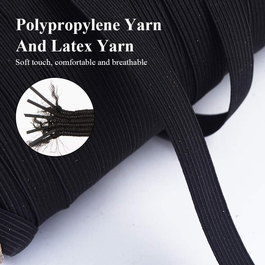manualidades bandas de oreja 1//4inch-100Yards negro Banda el/ástica plana 100 yardas de cuerda el/ástica de cuerda el/ástica ancha trenzada para bricolaje costura
