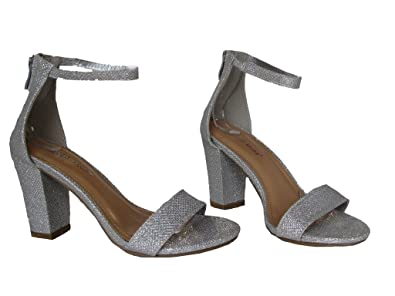 Top Moda Hannah 1 Womens Sequin Glitter Block Heel Ankle Strap Pump Sandals  Silver 5 2f0547d4b0e4