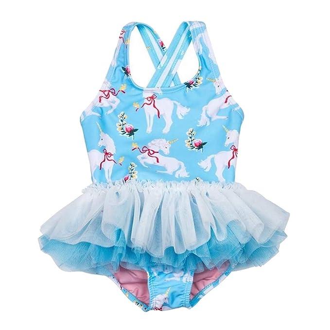 Amazon.com: Traje de baño de unicornio con tutú para niñas y ...