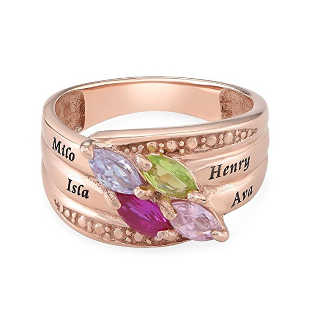 Engraved Mothers Ring & Four Stone - Custom Made Ring with Birthstones -Personalized Gift for Mother's Day(rose-gold 5) by Jumping Birthstone (Image #3)
