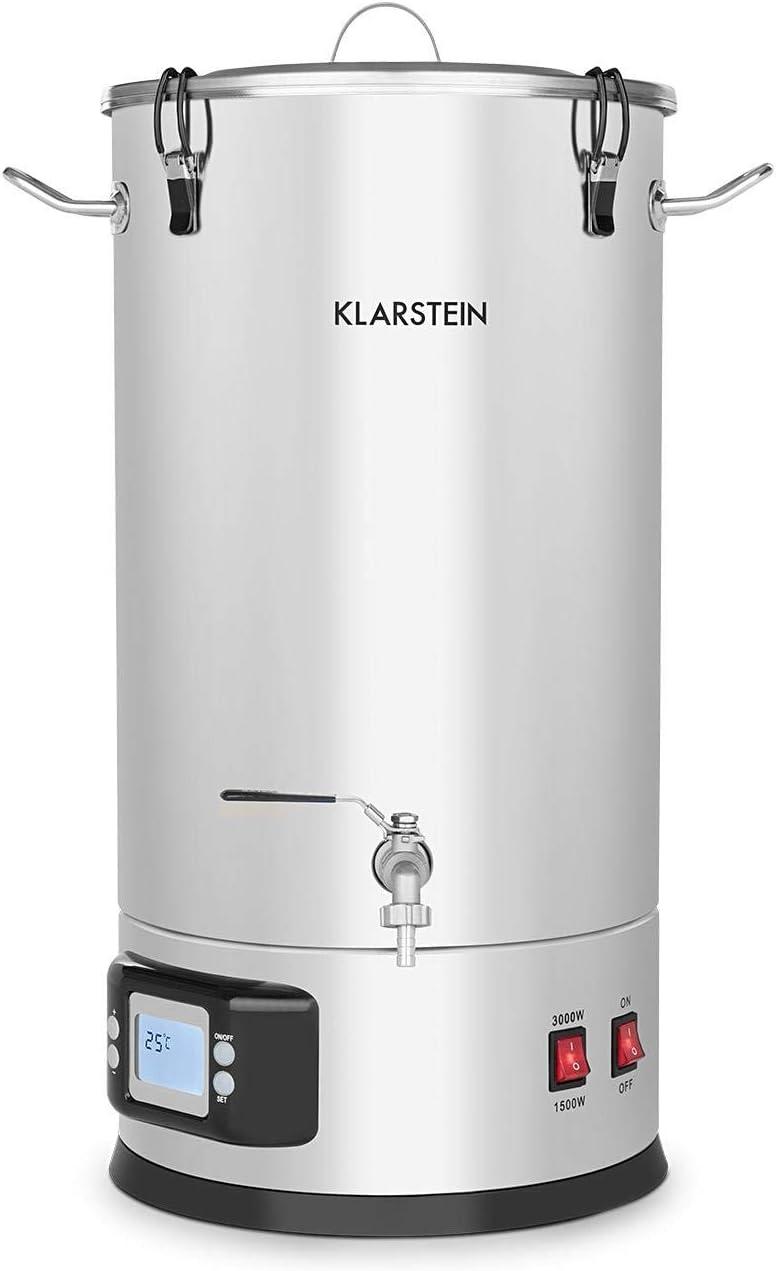 Klarstein Maischfest caldera - Olla para producir cerveza, 2 niveles: 1500/3000 W, 30 litros, Lote de 5 piezas, Cubo para filtrar, Espiral refrigerante, Pantalla LCD, Grifo, Acero 304