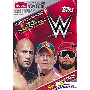 2016 Topps WWE Wrestling EXCLUSIVE Factory Sealed Retail Box with 10 Packs, RELIC Card & THE ROCK Tribute Card! Look for Cards ,Autographs & Relics of Jon Cena,Triple H, Sting, Ric Flair & Many More!