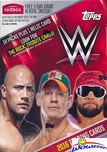 2016 Topps WWE Wrestling EXCLUSIVE Factory Sealed Retail Box with 10 Packs, RELIC Card & THE ROCK Tribute Card! Look for Cards ,Autographs & Relics of Jon Cena,Triple H, Sting, Ric Flair & Many (Games Collectible Card Rock)