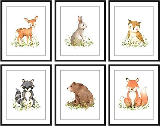 SET Woodland Rabbit Fox Raccoon Nursery Decor Kid Print Baby Room Animal Picture