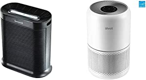 Honeywell HPA300 True HEPA Air Purifier, Extra-Large Room, Black & LEVOIT Air Purifier for Home Allergies Pets Hair Smokers in Bedroom, H13 True HEPA Air Purifiers Filter, 24db Quiet Cleaner, White