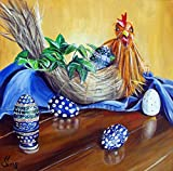 Imagekind Wall Art Print entitled Chicken Or Egg? Polish Pottery XVII by Heather Sims | 11 x 11