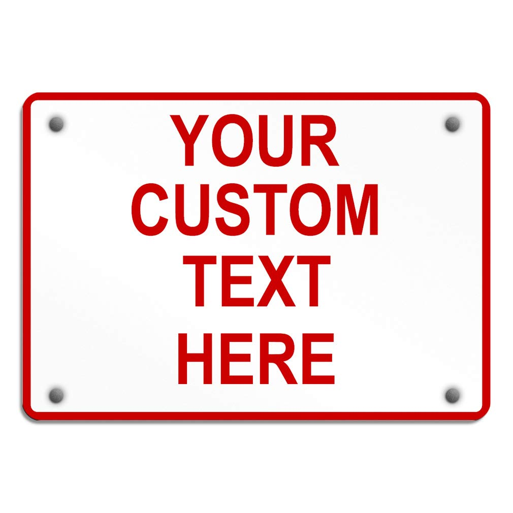 Aluminum Weatherproof Metal Sign Multiple Sizes Custom Personalized Text Here White Red Danger Horizontal Street Signs 14x10Inches