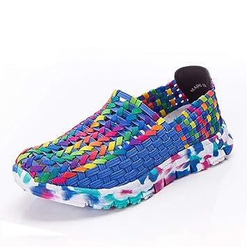e3a1514c5e8a4 Amazon.com: DETAIWIN Women's Woven Sneakers with Bright Color Slip ...