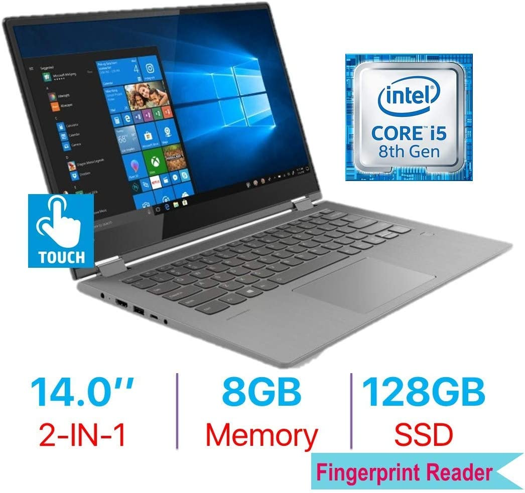 Lenovo Flex 6 14'' 2-in-1 FHD (1920x1080) Touchscreen IPS Laptop PC, Intel Quad Core i5-8250U, Bluetooth, WiFi, HDMI, Backlit Keyboard, Fingerprint Reader, Windows 10, 8GB DDR4 RAM 128GB SSD (Renewed)