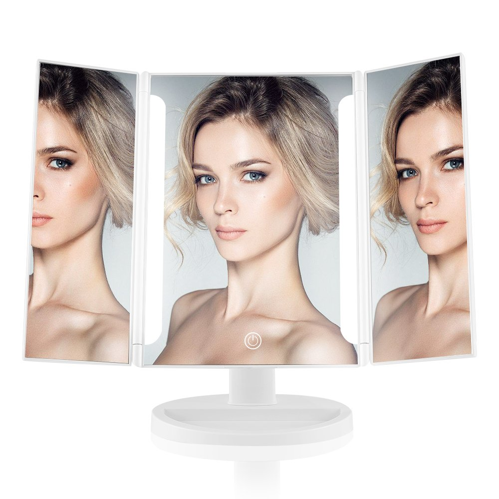 EASEHOLD Lighted Vanity Makeup Mirror Tri-Fold LED Light Bars 180 Degree Free Rotation Table Countertop Cosmetic Bathroom Mirror (White)