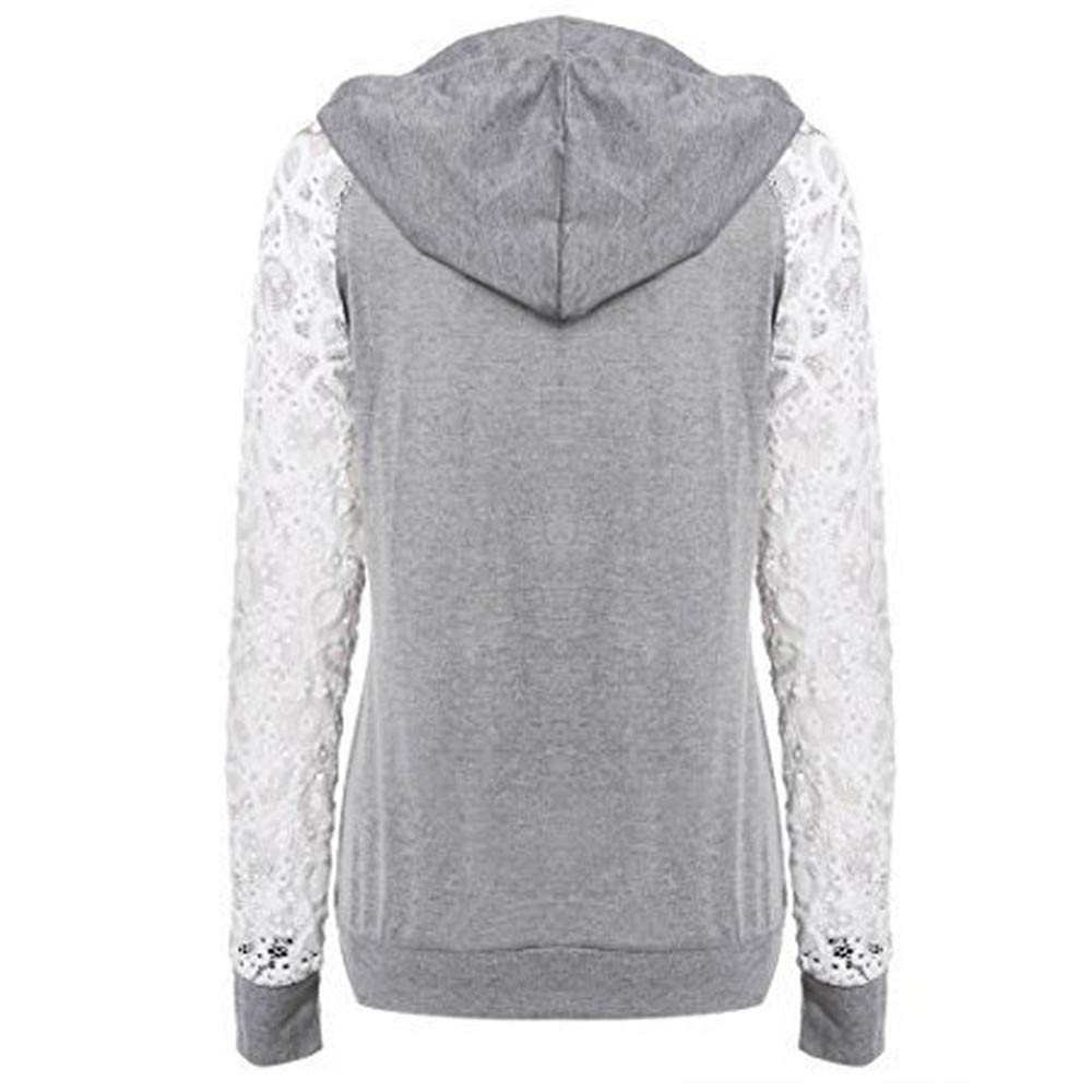 Sweatshirt Women Pullovers Lace Spliced Long Sleeve Slim Hooded Drawstring Women Outerwear Tops,Gray,M,United States