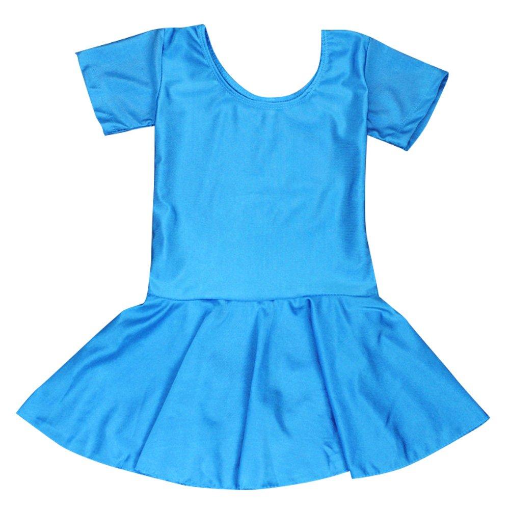 Kids Girls Classic Dance Ballet Dress Short Sleeve Leotard #1006