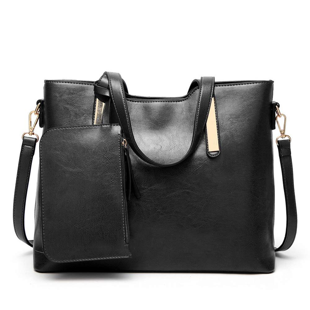 9e13557be4 Designer Handbags Set for Women Vintage Style Soft Leather Tote Shoulder  Bag Large Capacity Top Handle Satchel Purse Set 2PCS (Black)  Handbags   Amazon.com