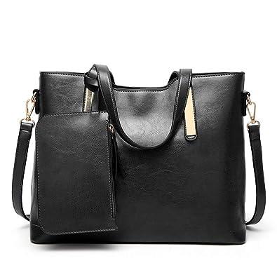 b76e640acd11 Designer Handbags Set for Women Vintage Style Soft Leather Tote Shoulder  Bag Large Capacity Top Handle