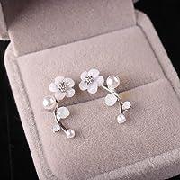 Niome 1 Pair Fashion Elegant Crystal Rhinestone Leave Pearl Ear Stud Earrings Women's Lady Fashion Jewelry Gift