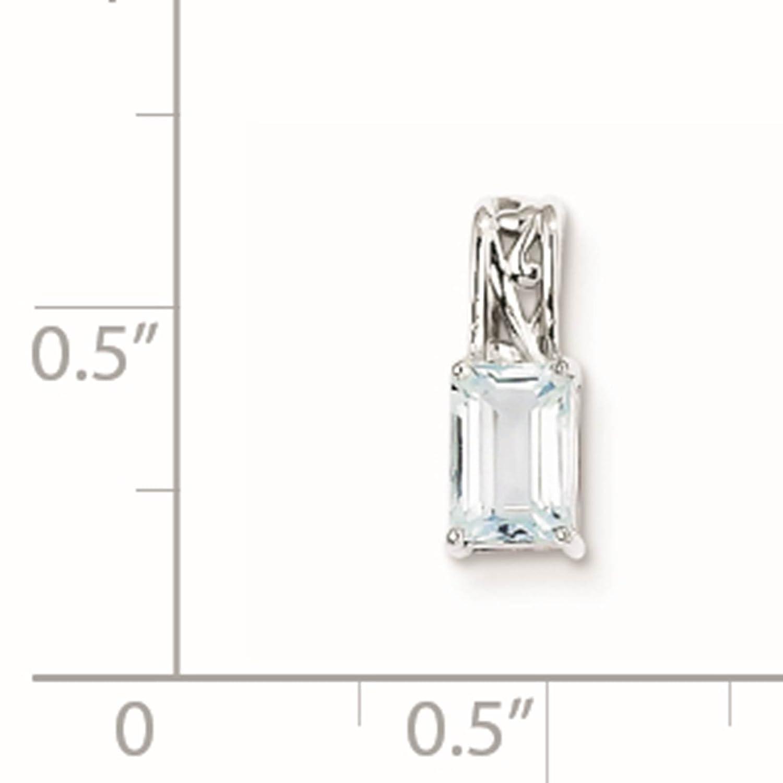 925 Sterling Silver Rhodium-plated Genuine Aquamarine Rectangle Pendant