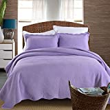 Alicemall Modern Bed in a Bag 100% Cotton 3-Piece Noble Purple Bedspread Set Soft Girls Quilt Set, King Size (King, Purple)
