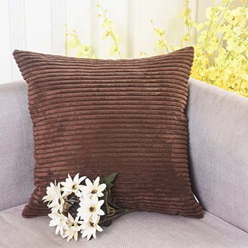 Brown Corduroy Throw Pillow : Home Brilliant Decor Solid Supersoft Corduroy Stripes Square Throw Fall Pillow Cushion Covers ...