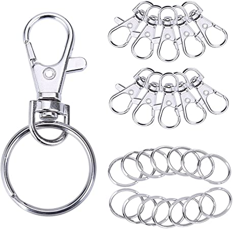 100 Pcs Premium Swivel Snap Hooks with Key Rings,Metal Lanyard Keychain Hooks Lobster Clasps for Key Jewelry DIY Crafts 50 Pcs Lanyard Snap Hooks+50 Pcs Key Rings