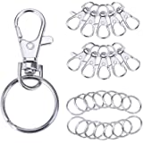 110 PCS Silver Metal Swivel Lobster Clasps Lanyard, Valar Dohaeris Snap Hook Lobster Clasp Clip Jewelry Findings Clasps 50 Pieces and Keychain Key Rings 60 Pieces for keyring,DIY bags