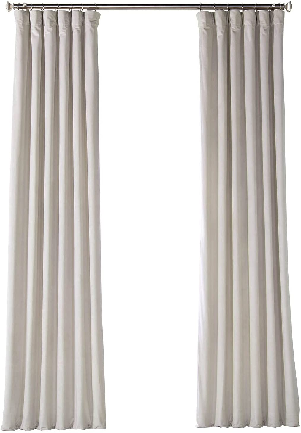 HPD Half Price Drapes VPYC Heritage Plush Velvet Curtain (1 Panel), 50 X 108, City Grey