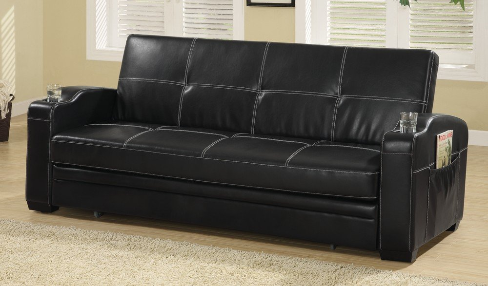 Amazoncom Coaster Fine Furniture 300132 Faux Leather Sofa Bed with