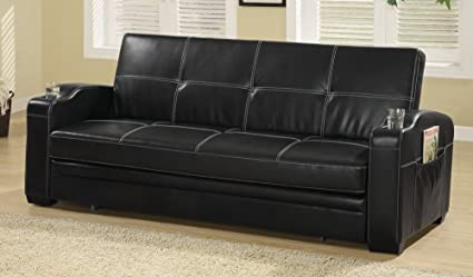 Coaster Contemporary Black Faux Leather Sofa Bed With Storage And Cup  Holders