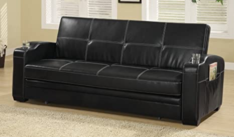 Sleeper Sofa Bed with Storage and Cup Holders Black