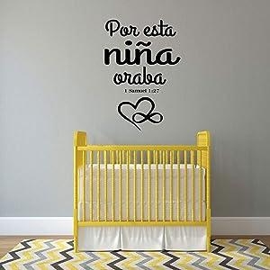 Tamengi Calcomania para Ninas - 1 Samuel 1:27 Bible Verse - Spanish Vinyl Wall Decor Lettering for Baby Girl Nursery 15.7