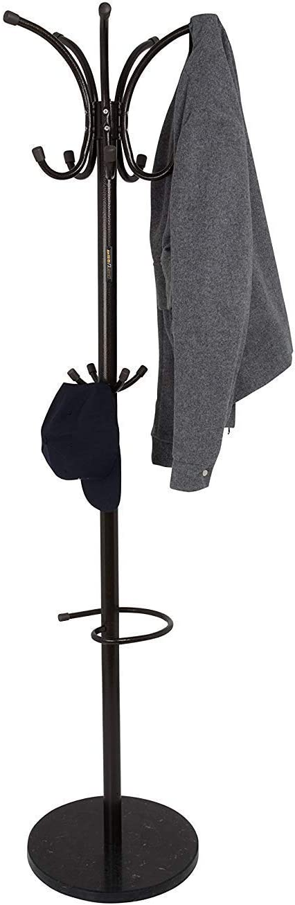 Gabz Free Standing Coat Stand With Rotating Hooks for Hanging Clothes /& Accessories//Marble Base//Umbrella Holder Pearl White